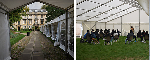 Marquees and gazebos erected in College Gardens